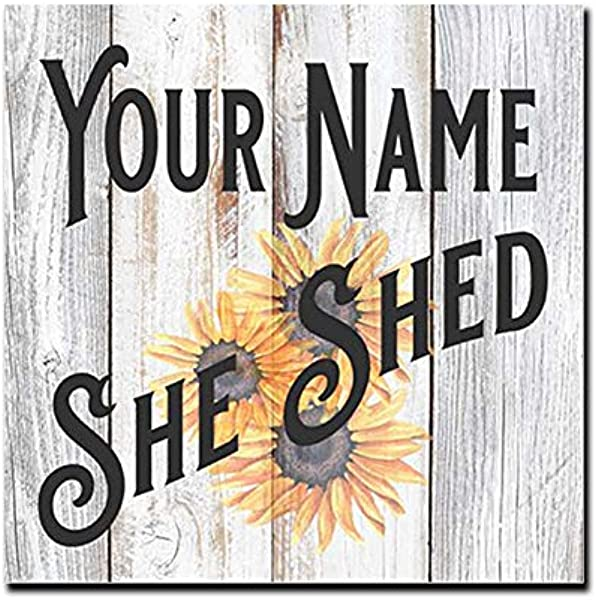 Chico Creek Signs Your Name Personalized She Shed With Sunflower Farmhouse Style White Wood Sign Wall D Cor Gift B3 12120004001