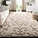 Safavieh Florida Shag Collection SG470-1113 Cream and Beige Area Rug (8' x 10')