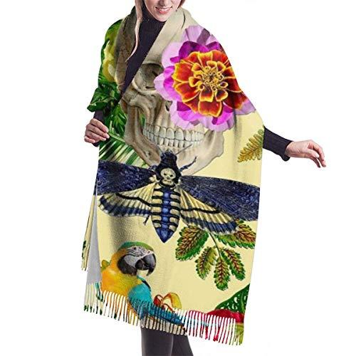 Fendy-Shop Bufanda de cachemira de loro con calavera y flores de mariposa tropical para mujeres y hombres, bufandas de invierno suaves unisex ligeras, chales con flecos