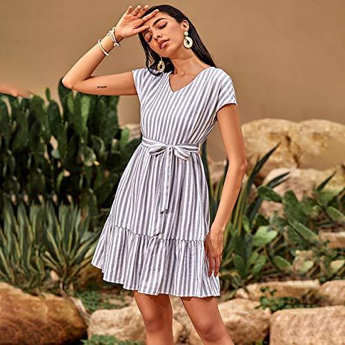 Generies Damen Hohe Taille Schnürstreifen Minikleider Rüschen V-Ausschnitt A-Linie Bandagenkleid Kurzarm Damenkleid M Grau