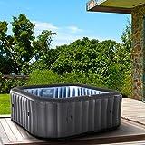 Whirlpool aufblasbar MSpa Tekapo für 6 Personen 185x185cm In-Outdoor Pool 132 Massagedüsen Timer Heizung Aufblasfunktion per Knopfdruck TÜV geprüft Bubble...