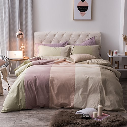 SedBed Unión simplificada de Puro algodón un Equipado de Cuatro Piezas de Ropa de Cama de algodón de 1,8 m a 1,5 m 4 trozos de sábanas Colcha Doble Cubierta,Boolean,2,0 m (6,6 pies) Cama