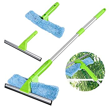 Window Squeegee Cleaner with Microfiber Scrubber 3 in 1 Professional Detachable Washing Tools Telescopic Cleaning Kit with Extension Pole for Window Car Cleaning
