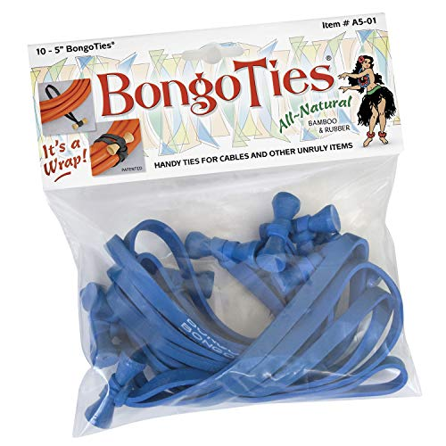 BongoTies ALL BLUE Bongo Ties A5-01-B ~ 10 Pack ~ HANDY TIES FOR CABLES AND OTHER UNRULY ITEMS