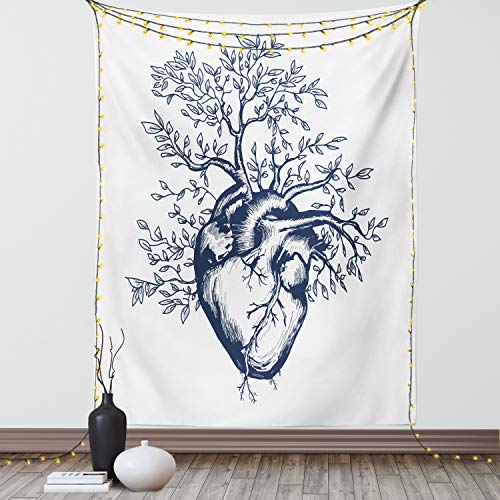 Lunarable Surrealistic Tapestry Twin Size, Human Heart Blooming Tree Leaves Anatomy of Life and Love Concept, Wall Hanging Bedspread Bed Cover Wall Decor, 68' X 88', Off White Black