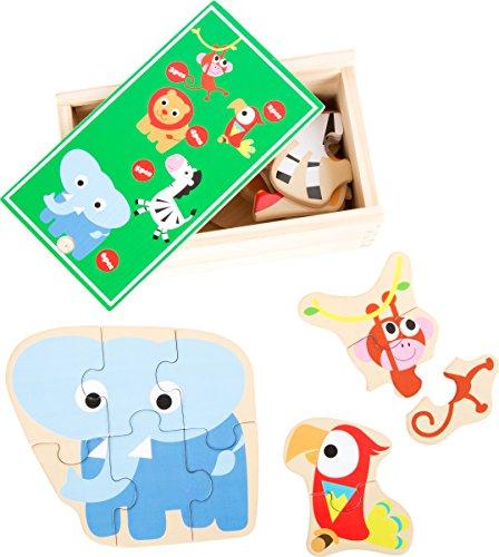 small foot 10551 puzzelbox voor het puzzelen van AFFE, papegaai, leeuw, zebra en olifant van hout, met verschillende moeilijkheidsniveaus, praktische houten kist die ook geschikt is voor transport