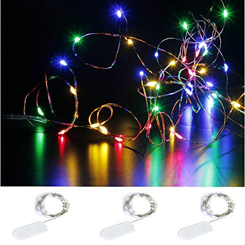 Pack of 3 Sets LED Starry String Lights with 10 Micro LEDs on 3.3ft(1m) Copper Wire, Fairy Lights Battery Powered by 2x CR2032(Incl), for Wedding or Christmas Party Table Decorations (multicolor 1M)