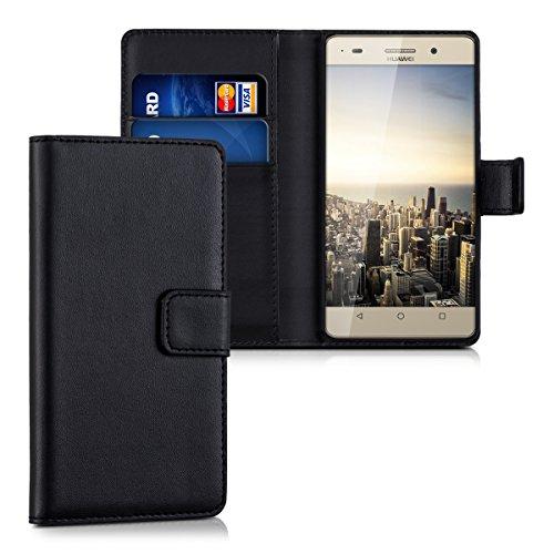 kwmobile Hülle kompatibel mit Huawei G Play Mini - Kunstleder Wallet Case mit Kartenfächern Stand in Schwarz