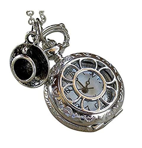 UMBRELLALABORATORY Steampunk Taschenuhr Halskette | Victorian Style, Silber Finish Handgemachtes Kawaii Zubehör Alice im Wunderland