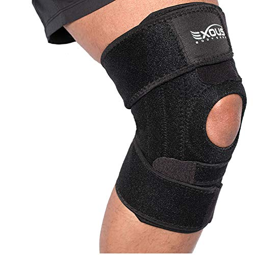 Knee Brace by EXOUS - Advanced 4-Way Knee Brace with Side Stabilizers for Total Patella and Knee Support - for Painful Joints, to Aid Injury Recovery and to Stay Active- Knee Braces for Knee Pain