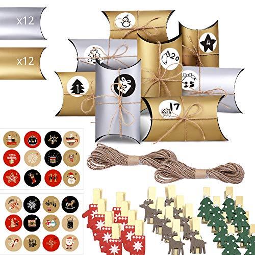 Coolon 24-teiliger Adventskalender zum Füllen, DIY-Adventskalenderboxen 14,9 x 8X 4 cm mit 24 Nummernaufklebern, 24 Clips inklusive und 20 m Hanfseil zu Weihnachten (Golden und Silber)