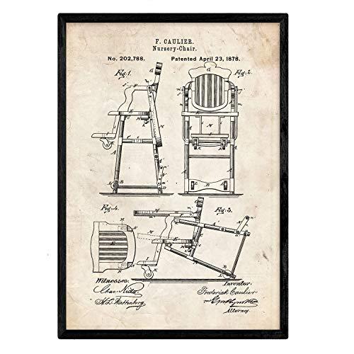 Poster Nacnic patent Trona om te eten. Blad met oud designoctrooi op A3-formaat en vintage achtergrond
