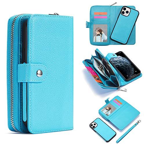 Handyhülle für iPhone 12 Mini Hülle, Premium Handy Schutzhülle für iPhone 12 Mini Magnetisch Standfunktion Reißverschluss Kredit Kartenfächer Geldbörse Flip Münzfach Brieftasche Etui Geldbeutel - Blau