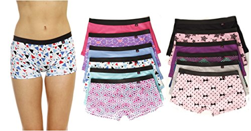 Just Intimates 13138-5 Cotton Panties/Boyshort Underwear (Pack of 12)