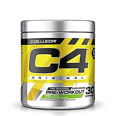 Cellucor C4 Original Pre Workout Powder Energy Drink Supplement For Men & Women with Creatine, Caffeine, Nitric Oxide Booster, Citrulline & Beta Alanine, Green Apple, 30 Servings, 6.88 Ounce