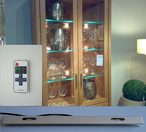 LED Glasboden Kanten Vitrinen Beleuchtung mit Funk Fernbedienung und Dimmfunktion (1er Set, 40cm)