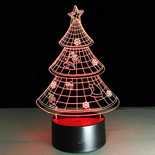 Lampada Illusione 3D Luce Notturna A Led Regalo Di Natale Figurenightlights Albero Di Natale Stereo Vision Regali Creativi A Sette Colori Per La Luce D'Atmosfera Dei Bambini Di Natale