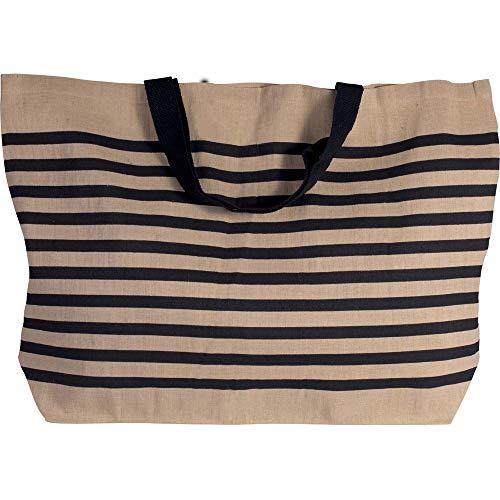 Grand sac de shopping en toile de jute en coton mélangé XXL et sac de shopping pour la plage, les loisirs, les courses ou le sport. Natural/Navy, 72 x 48 x 15 cm, Volumen: ca. 52 L