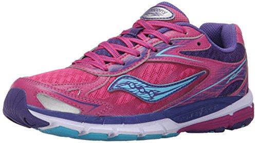 Saucony Ride 8 Running Shoe (Little Kid/Big Kid), Pink/Purple, 6 M US Big Kid