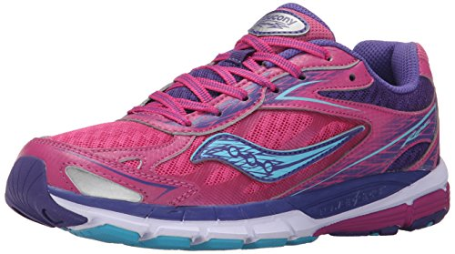 Saucony Ride 8 Running Shoe (Little Kid/Big Kid), Pink/Purple, 6 M US Big Kid