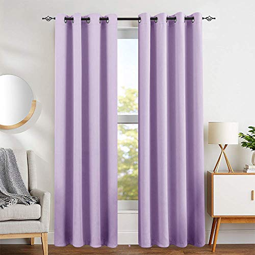 Lilac Blackout Curtains for Girls Room Darkening Thermal Insulated Living Room Curtain Panels 95 inches Long for Bedroom Window Treatment Set, Grommet Top, 1 Pair