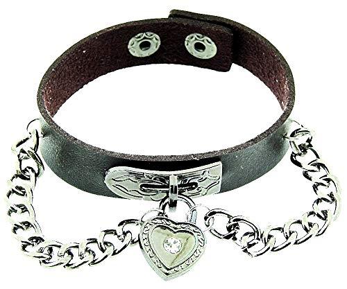 Vrouwelijke armband - vrouw - hart - armband - kunstleer - hart - knop - ketting - rock - steampunk - gothic - punk - kerstmis - bruin - zilver en zwart - origineel cadeau idee