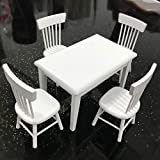 Poxcap Model Table Chair A Nativity Set Muebles Dollhouse Miniatura Blanco Madera Mesa de comedor Silla Dollhouse Juguetes de madera Dollhouse 1 Set 1/12