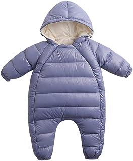 comprar comparacion JiAmy Bebé Invierno Mameluco con Capucha Traje de Nieve Niñas Niños Mono de Algodón Trajes Morado 6-9 Meses