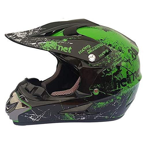 Motocross Helmet Adult, ATV Scooter Casco De Motocross, para Adultos, para Exteriores, Casco De Bicicleta De Montaña, De Cara Completa con Gafas Guantes (S, M, L, XL)