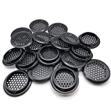 20Pcs Air Vents 53mm Circular Soffit Vent Stainless Steel Round Vent Mesh Hole Louver for Kitchen Bathroom Cabinet Wardrobe (Black)