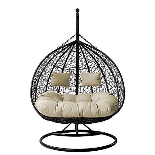 Honeypot - Olivia – Hängeschaukel für den Garten – für den Innen- und Außenbereich – eiförmige Rattan-Schaukel, Hängematte, doppelt mit wasserdichten Kissen (cremefarben)