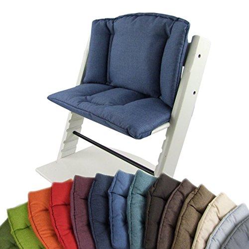 BambiniWelt Sitzkissenset für Stokke Tripp Trapp Hochstuhl *14 FARBEN MELIERT* 2 teilig Sitzkissen Auflage Bezug Ersatzkissen Kissen (Blau) XX