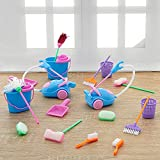 Vinsot 18 Pieces/ 2 Sets Miniature Dustpan Dolls Housework Cleaning Tools Cute Cleaning Furniture Tools Kit Mini Pretend Play Mop Broom Toys House Clean Toys for Dolls House