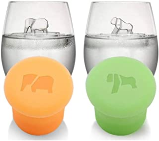 Silicone Ice Cube Trays with Cover Elephant and gorilla Shape Reusable Ice Cube Molds Animals Design Ice Machine Novelty M...