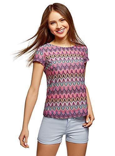 oodji Ultra Mujer Camiseta de Tejido Texturizado con Decoración Étnica, Rosa, ES 40 / M