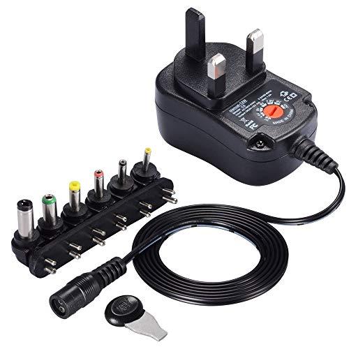 Minusk - Adaptador universal de CA/CC (3 V, 4,5 V, 6 V, 7,5 V, 9 V, 12 V)