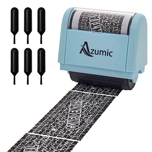 Azumic Confidential Address Blocker Anti Prevention Identity Theft Protection Roller Stamp 6 Pack Refills, Light Blue