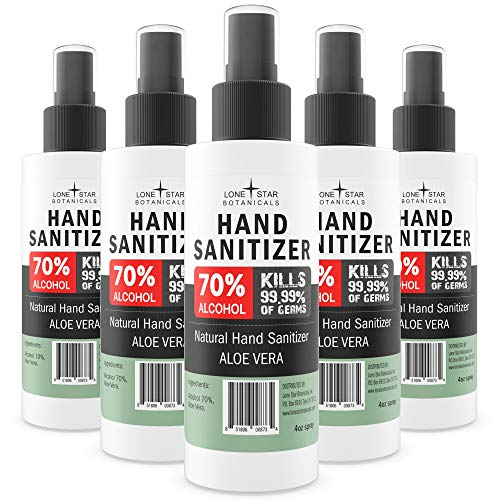 Lone Star Botanicals All-Natural Hand Sanitizer – with 70% Alcohol and Aloe Vera – Made in the USA – 4oz Spray (5 Pack)
