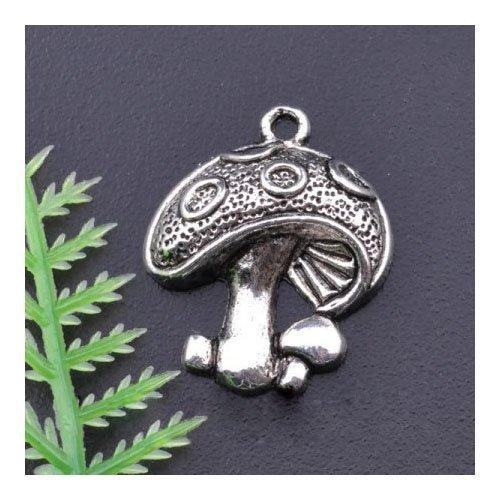 Charming Beads Paket 10 x Antik Silber Tibetanische 23mm Charms Anhänger (Pilz) - (ZX01665)