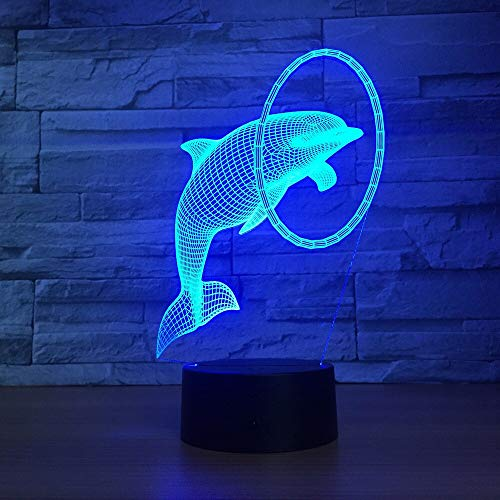 Colorful Three-Dimensional Dolphin 3D Desk lamp LED Next to The Control Color Changing USB LED Desk Birthday Mother's | Halloween Atmospheric Color Light
