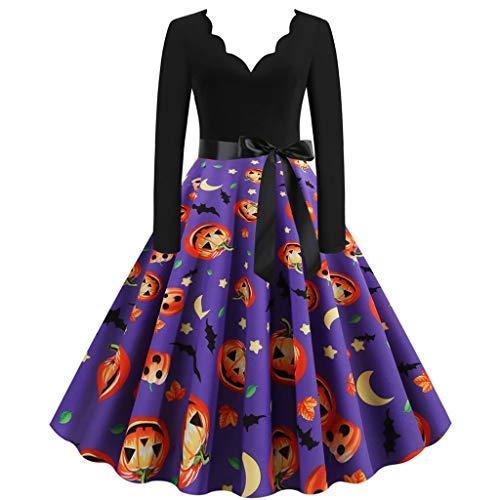 ZEFOTIM vestidos de Halloween 2019, vestido vintage de manga larga para mujer de los años 50 - - XX-Large