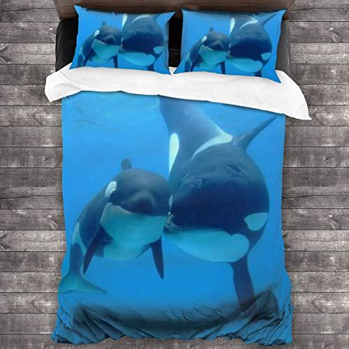 AIMILUX Orca Killerwale,Mikrofaser Bettwäsche 135x200cm,Reißverschluss Bettbezug 2 Kissenbezug 50x80cm