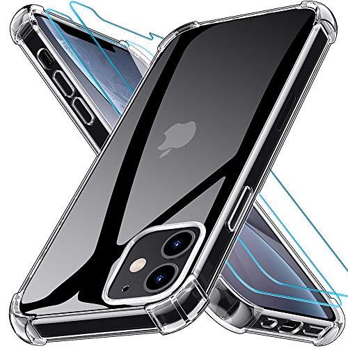 Kensou Hülle Kompatibel mit iPhone 5.4 Zoll 12 Mini mit 2 Stück Panzerglas Schutzfolie,Silikon TPU Soft Anti-Kratzer Schock-Absorption Schutzhülle - 5.4 Transparent