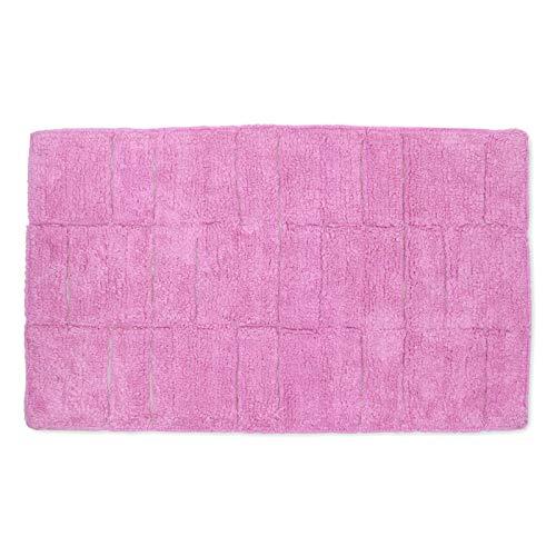 Homevibes Alfombrilla De Baño con Cuadros Alfombra De Baño Antideslizante Lavable 100% Algodón Medidas 50x80cm Absorbente (Rosa)
