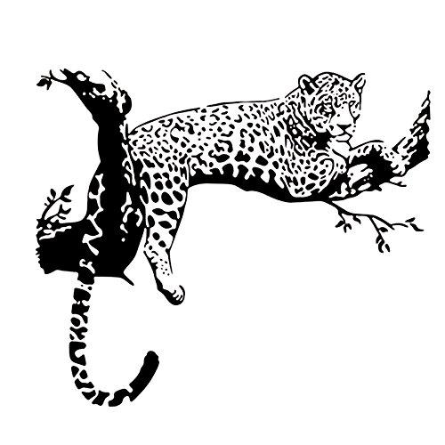 Kreativer wilder großer Leopard auf dem Baum Vinyl DIY Wandaufkleber Tiger Tier Tier Aufkleber Kunst Wandbild Poster Schlafzimmer Wohnzimmer Home Decoration