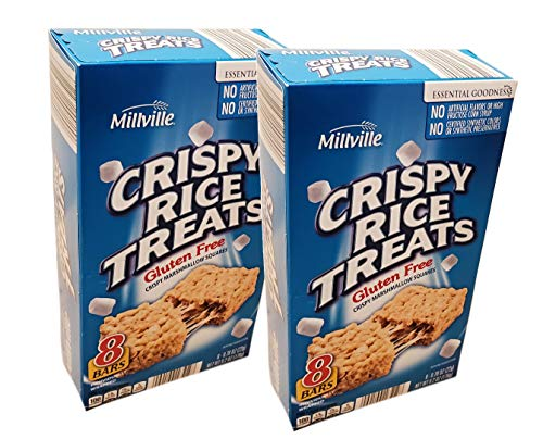 Millville Crispy Rice Treats Gluten-Free Marshmallow Squares Individually Wrapped Bars - 2 Boxes (16 ct)