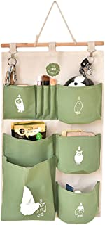 Cotton Linen Decorative Home Organizer Wall Door Pouch Holder Closet Hanging Storage Case Bag with Hooks Green