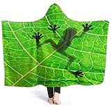 Coperta con cappuccio, coperta con stampa, coperta per uomo e donna, invernale,rana 50x40 inch