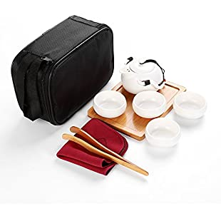 ZHIZU Portable Travel Teapot Sets Chinese Handmade Tea Set Porcelain Teapot & 4 Teacups & Bamboo Teatray & Storage Bag (White With 4 Teacups &Storage Bag)
