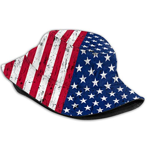 Augenstern Unisex Summer Boonie Cotton Fishing Hat American Flag Stars Stripes Camping Flat Top Novelty Bucket Hats Hiking Cap